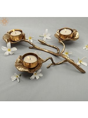 Elegant Brass Designer Leaf Candle Holder | Handmade | Home Décor | Decorative Object / Accents | Brass | Made In India