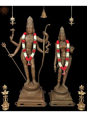 """63"""" Large-Than-Life Shiva-Uma, An Irreplaceable Complement To Each Other 