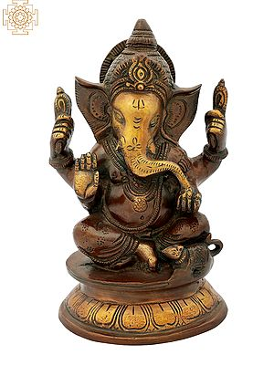 Blessing Ganesha Seated on Pedestal
