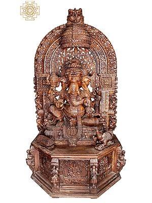 "99"" Superfine and Super Large Wooden Bhagawan Ganesha"