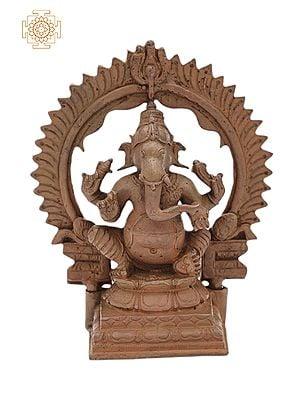 "4"" Small Bhagawan Ganesha with Kirtimukha Prabhavali | Handmade | Madhuchista Vidhana (Lost-Wax) | Panchaloha Bronze from Swamimalai"