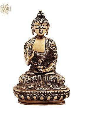 "5.5"" Small Gautam Buddha Preaching His Dharma with Carved Robe   Brass Buddha   Handmade   Made In India"
