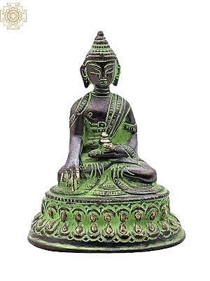 "4"" Meditating Buddha Brass Statue | Lord Buddha in Mara Vijay Mudra Brass Statue | Medicine Buddha | Handmade | Made In India"