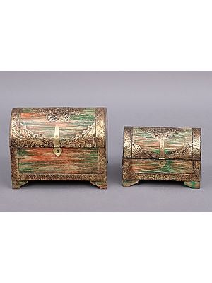 """9"""" Set Of Two Decorated Boxes 