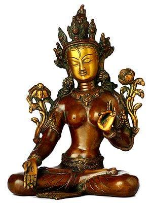 Tibetan Buddhist Goddess White Tara in Varada-Mudra (Boon-Granting Gesture)
