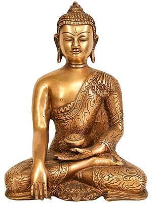 Bhumisparsha Buddha Adorned in a Floral Robe