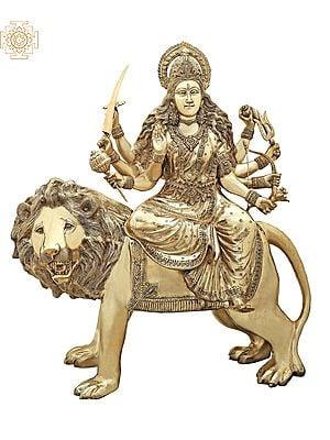 "43"" Large Superfine Simhavahini Goddess Durga | Brass Statue | Handmade | Made In India"