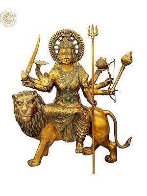Large Size Mother Goddess Durga Seated on Lion
