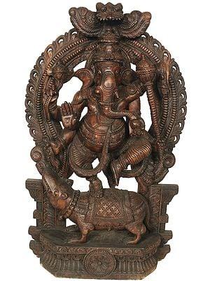 Six Armed Dancing Ganesha Holding a Mace