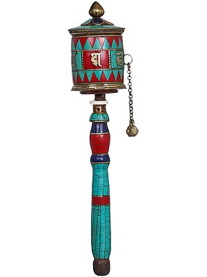 Tibetan Buddhist Handheld Prayer Wheel - Made in Nepal