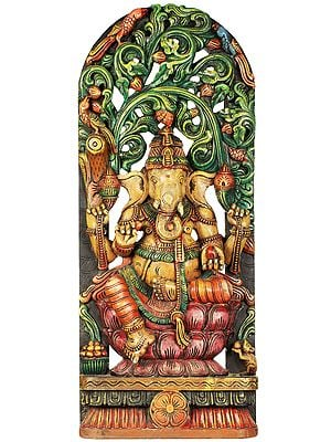 Shri Ganesha Seated on Lotus with Vegetative Aureole
