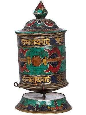 Tibetan Buddhist Dorje Prayer Wheel On Stand -Made in Nepal