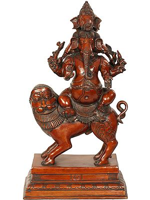 Heramba Ganesha Seated on Lion