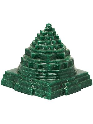 Shri Yantra Carved in Green Aventurine
