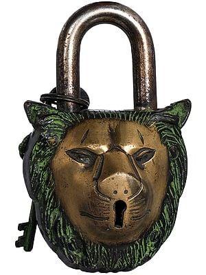 Lion Head Lock With Auspicious Symbols On Reverse