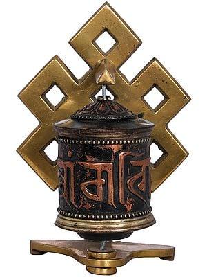 Endless Knot Prayer Wheel From Nepal - Tibetan Buddhist