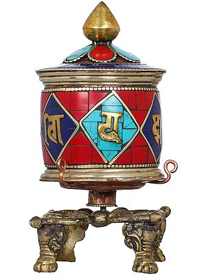 Auspicious Mantras Prayer Wheel From Nepal - Tibetan Buddhist