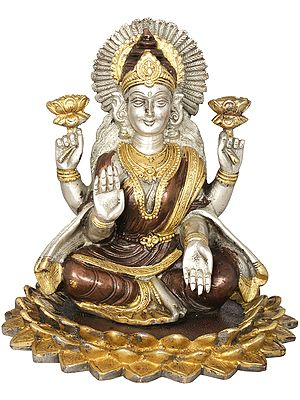 Goddess Lakshmi  Seated On a Blooming Lotus