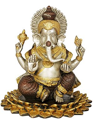 Lord Ganesha Seated On a Blooming Lotus