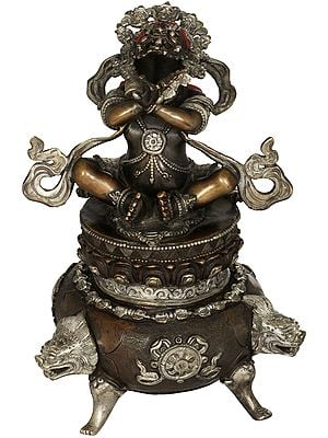 Tibetan Buddhist Deity Daka Incense Burner with Open Mouth