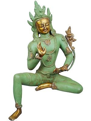Edge of Desk Seated Goddess Tara - Tibetan Buddhist