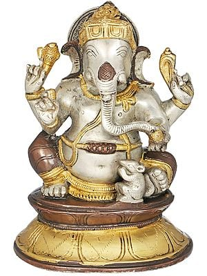 Chaturbhuja Ganesha With His Mouse