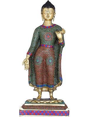 Standing Inlay Buddha - Tibetan Buddhist