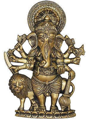 Ganesha With Her Mother Goddess's Lion - Flat Wall Hanging