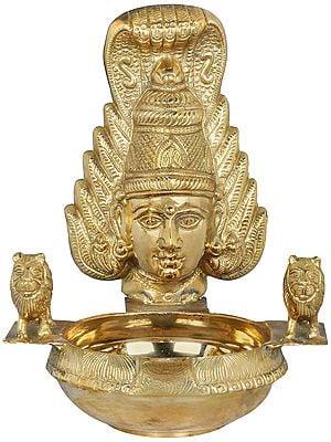 Large Diya With Goddess Mask From South India