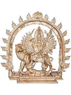 Thirty Two Armed Goddess Durga Killing The Demon Mahishasura