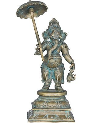 Ganesha Holding an Umbrella and Kamandalu