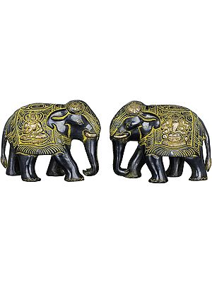 Pair of Elephants - Shiva and Ganesha Carved on Saddle