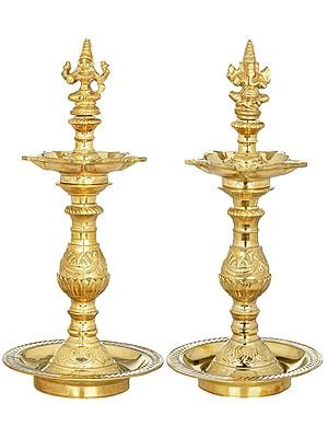 Pair of Lakshmi Ganesha Lamps