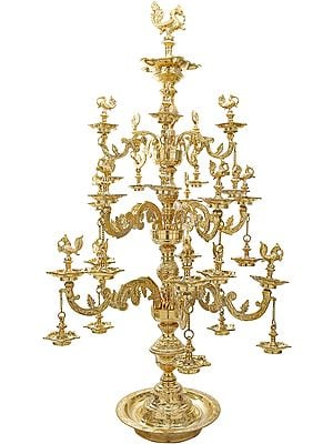 Tall, Resplendent Annam-Lamp With Gorgeous Etchings Along The Base Rim, Stem, And Branching Vines