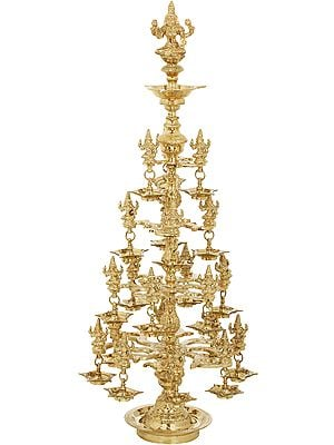 Auspicious Lamp of Goddess Lakshmi - With Twenty Two Lakshmi Statues
