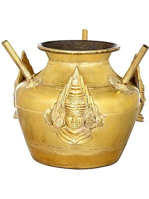 Ritual Pot With Three Devi Masks