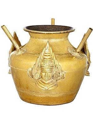 Ritual Pot With Three Devi Masks