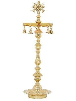 Large vaishnava lamp with chakra and conch Symbols