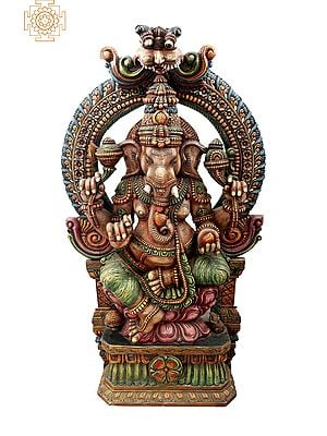 Large Ganesha Seated On Lotus Throne with Large Kirtimukha Floral Aureole