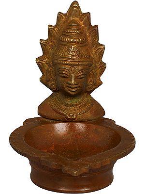 Small Diya With Goddess Mariamman Mask
