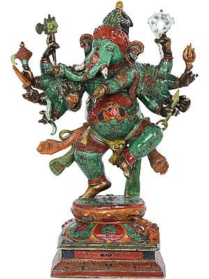 Ten Armed Dancing Ganesha With Superfine Stone Work - Made in Nepal
