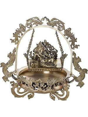 Bronze Urli With Lord Ganesha On Swing