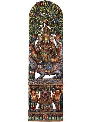 Large Size Ganesha Seated On Mouse With Vegetative Aureole