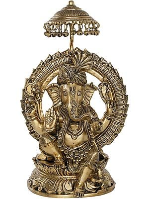 Fine Quality Turbaned Ganesha on Lotus Seat With Parasol Aureole