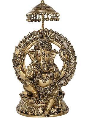 Fine Quality Turbaned Ganesha on Lotus Seat With Parasol Aureole