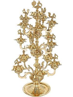 Sixteen Parrots Puja Lamp