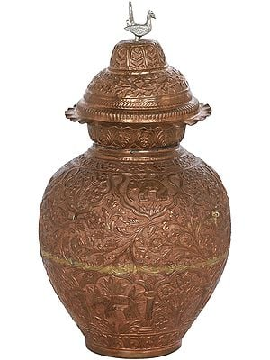 Fine Quality Handmade Vase Decorated With Elephants and Floral Motifs