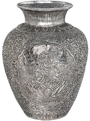 Superfine Goddess Lakshmi Vase With densely Packed Work