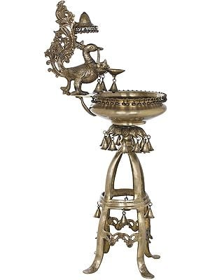Large Peacock Lamp With Urli and Bells