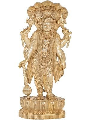 Gorgeously Draped Lord Vishnu, Canopied By Sheshanaga